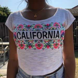 Wet Seal Embroidered Floral Crop Top